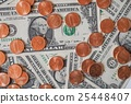 Dollar coins and notes 25448407