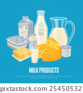 Milk products banner with dairy composition 25450532
