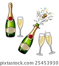 Closed, open champagne bottle and glasses 25453930
