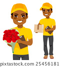 Courier Man Flower And Parcel 25456181