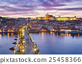 sunset over Charles Bridge and Prague Castle 25458366