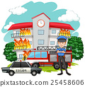Policeman and fire at the building 25458606
