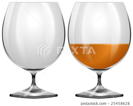 Glasses empty and with drink 25458628