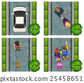 Aerial scene of people on the street 25458651