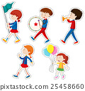 Sticker set with children walking 25458660