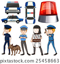 Policeman and police cars 25458663