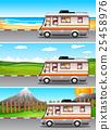 Scenes with children riding on camper van 25458976