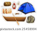 Sticker set of camping objects 25458994