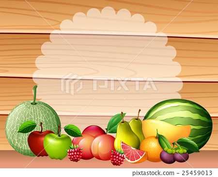 Frame design with many fruits 25459013