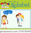 Flashcard letter K is for kiss 25459048