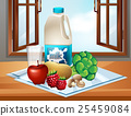 Milk and fresh vegetables on table 25459084