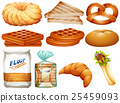 Different kinds of bread and desserts 25459093