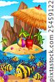 Nature scene with fish and island 25459122