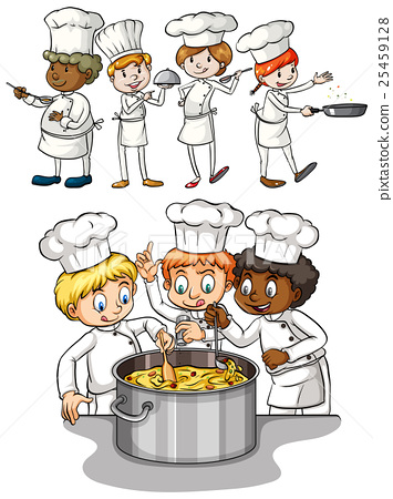 Set of chef cooking 25459128