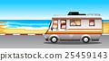 Children riding in camper van to the beach 25459143