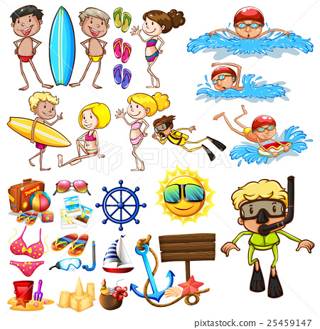 Summer set with swimmers and equipment 25459147