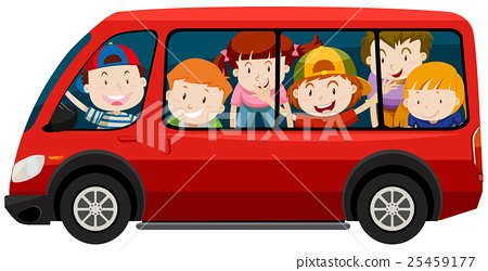 Children riding in red van 25459177