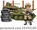Soldier holding gun and two military tanks 25459185