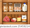 Different kinds of food on wooden shelf 25459214