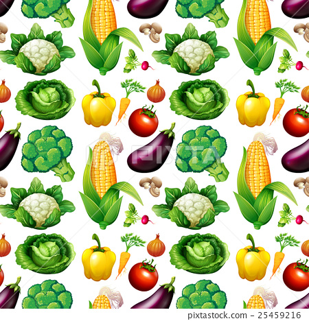 Seamless background with many vegetables 25459216