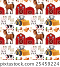 Seamless background with farm animals and barns 25459224