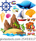Summer theme with island and beach items 25459317
