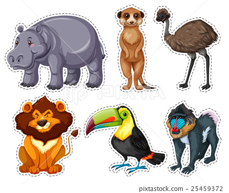 Sticker set with many animals 25459372