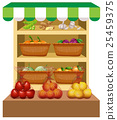 Fresh vegetables and fruits on shelves 25459375
