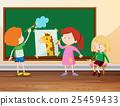 Three students drawing on blackboard 25459433