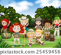 Children hiking in the woods 25459456