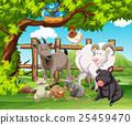 Farm animals living in the farm 25459470