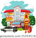 Fire scene with fireman at the building 25459518