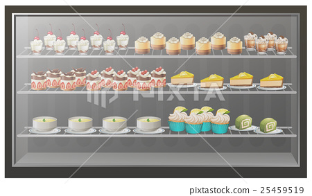 Different kinds of desserts on the shelves 25459519