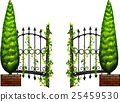 Metal fence with pine tree on sides 25459530