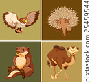 Different types of wild animal on brown background 25459544