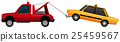 Tow truck pulling yellow taxi 25459567
