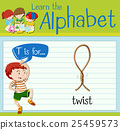 Flashcard letter T is twist 25459573