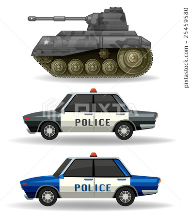 Police cars and military tank 25459580