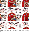 Seamless background  with cows and farmers 25459594