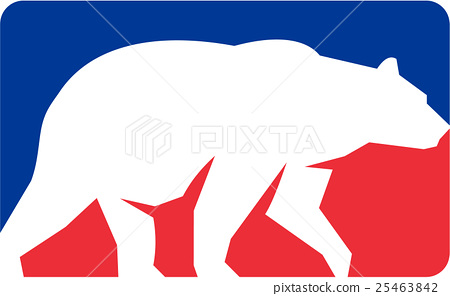 Grizzly Bear Walking Silhouette Rectangle Retro 25463842