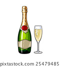 Champagne bottle and glass, isolated vector 25479485