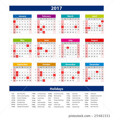 2017 Calendar holidays USA - illustration Vector - Stock ...