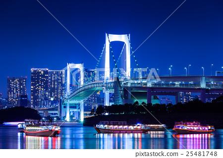 Night view of Odaiba Beach Park Rainbow Bridge 25481748