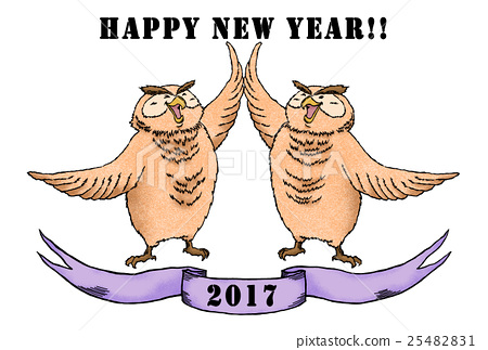 Owl Twin (Purple) happy new year !! Without Border 25482831