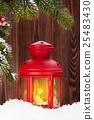 Christmas candle lantern and fir tree 25483430