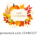 Happy Thanksgiving background with autumn leaves 25486337