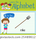 Flashcard letter R is for rake 25489612