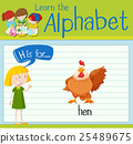 Flashcard letter H is for hen 25489675