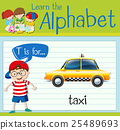 Flashcard letter T is for taxi 25489693