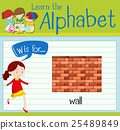 Flashcard letter W is for wall 25489849
